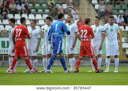 KAPOSVAR, HUNGARY - AUGUST 4: Competitors shake hands before a Hungarian National Championship soccer game Kaposvar (white) vs Debrecen (red) August 4, 2012 in Kaposvar, Hungary.