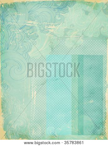 Vintage Swirly Collage - multilayer collage background, with hand drawn swirls, worn edges, yellow under-layer, transparent blue-green stickers and grungy overlay, for faded look (all separate layers)