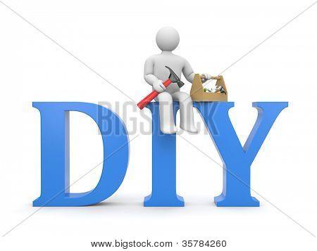 Worker with tools. DIY metaphor