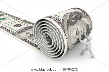 Man unreel a roll of dollars