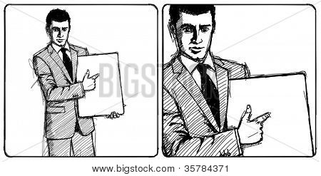 Sketch, comics style businessman holding empty write board in his hands