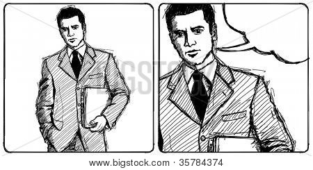 Sketch, comics style man businessman in suit with laptop in his hands, looking on camera