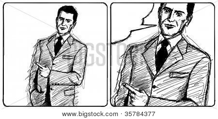 Sketch, comics style business man shows something with his finger