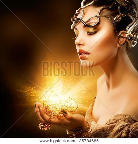 Magic Girl Portrait. Golden Makeup.