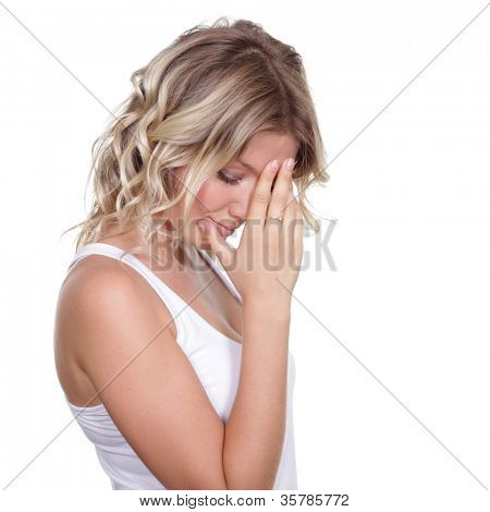 sad blonde young woman