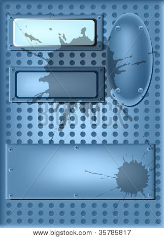 illustration with blue metal panels with screws