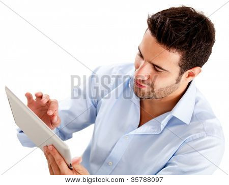 Businessman using a tablet computer - isolated over a white background
