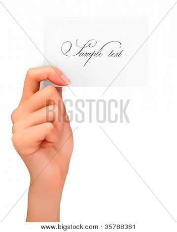 Hand holding paper card. Vector illustration