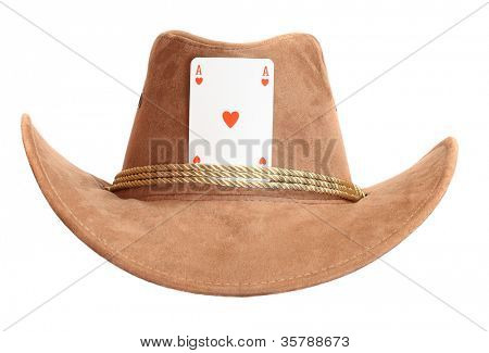 Cowboy hat with ace card. Successful and lucky man concept.