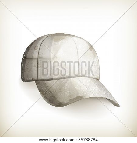 White baseball cap, old-style vector isolated