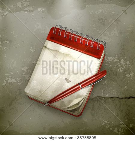 Spiral notebook with pen, old-style vector