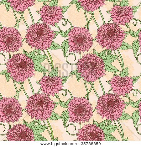 Floral seamless pattern with pink peony