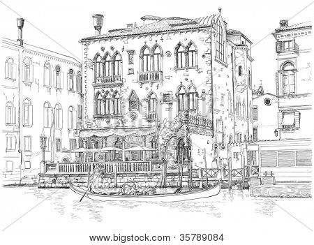 Venice - Grand Canal. Ancient building & gondola. Vector drawing