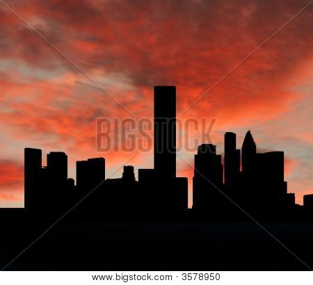 Houston Skyline bei Sonnenuntergang