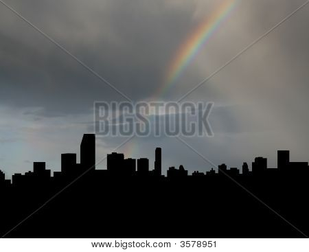 Miami Skyline With Rainbow