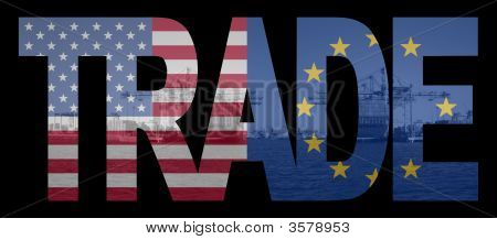 Trade With American And Eu Flags