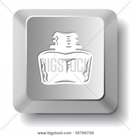 Inkstand. Computer key. Raster illustration.