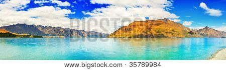 Lake Wakatipu in New Zealand. Panorama