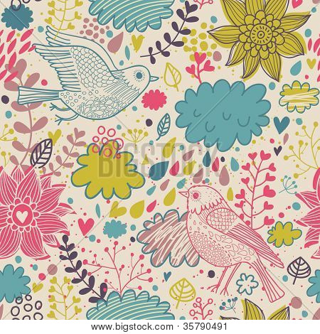 Seamless texture with flowers and birds. Endless floral pattern.Seamless pattern can be used for wallpaper, pattern fills, web page background,surface textures. Gorgeous seamless floral background