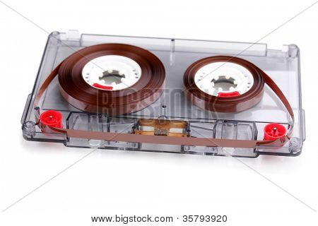 Audio cassette with color label isolated on white
