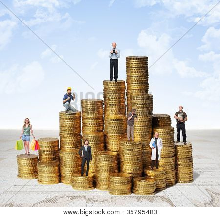 different people on money coin piles with sky background