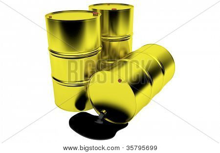 Barrels of oil on white background