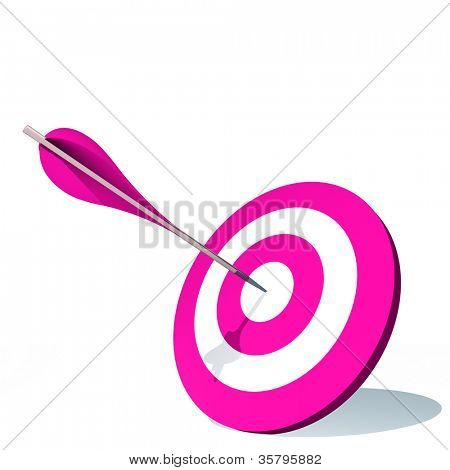 High resolution concept or conceptual pink dart target board with an arrow in center isolated on white background,as success,competition ,business,game,achievement,win,perfection,strategy or focus
