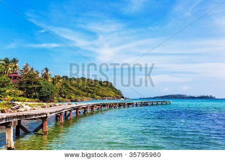 View from the pier on the sea at loneliness beach
