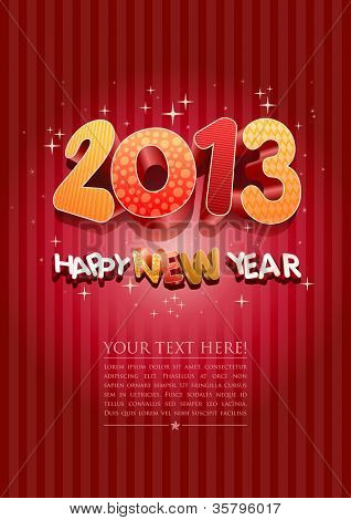 Happy new year 2013! New year design template. All elements are layered separately in vector file. Easy editable.