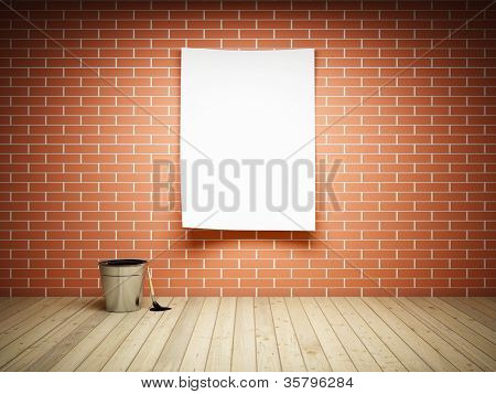 Blank paper on brick wall