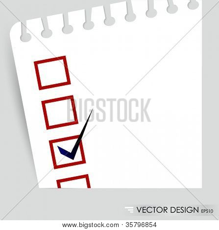 A checklist with black marker and red checked boxes. Concept vector illustration