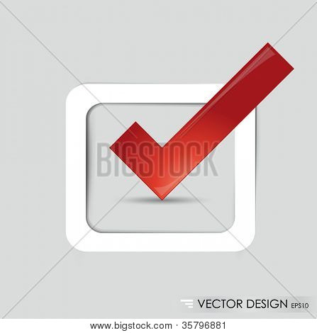 Check-box with red check-mark , vector illustration.