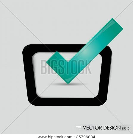 Check-box with green check-mark , vector illustration.