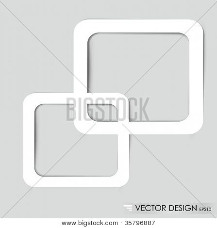 White frames on the gray wall. Vector illustration.