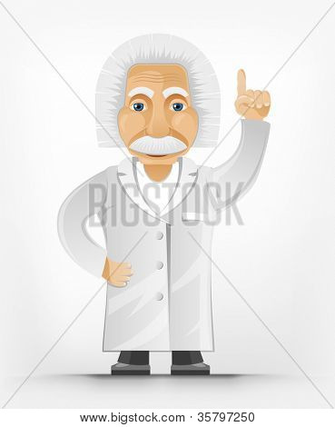 Cartoon Character Einstein Isolated on Grey Gradient Background. Idea. Vector EPS 10.