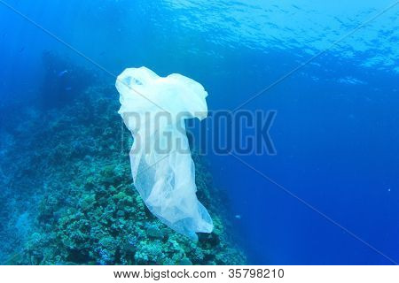 Environmental Pollution Problem - plastic bag on ocean coral reef