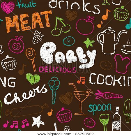 Seamless party food doodle kitchen background pattern in vector