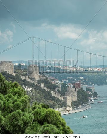 Bosphorus bridge and Rumeli Castle in Istanbul Turkey