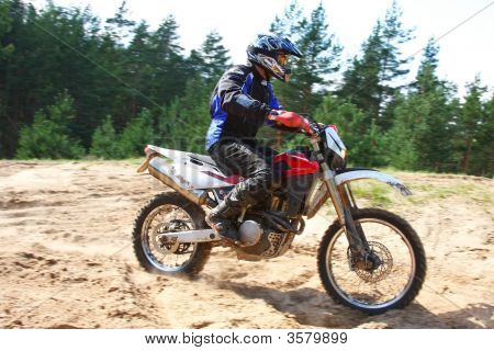 Off-Road Motorbike In Motion.