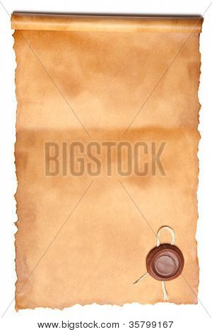 Old paper with wax seal isolated over a white background