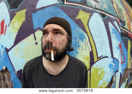 Smoking Homeless Man