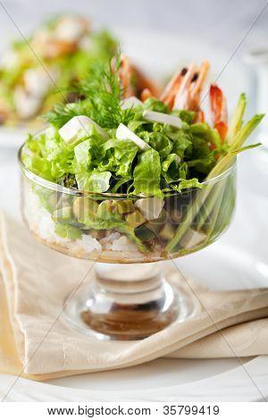 Salad with Shrimp, Fresh Salad Leaf, Rice and Avocado