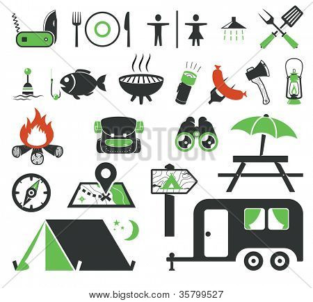 Camping icons collection