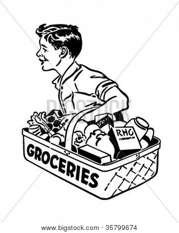 Grocery Delivery Boy - Retro Clipart Illustration