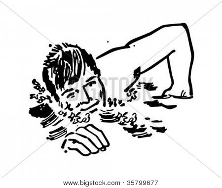 Schwimmer retro Clipart Abbildung