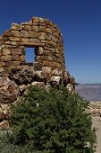 stock photo of mary jane  - Ruins of a stone building at the Desert View Watchtower designed by Mary Elizabeth Jane Colter in the Grand Canyon National Park Arizona USA - JPG