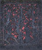 picture of sita  - Beautiful carved window shutters that recount the story of Rama and Sita - JPG