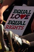 Brisbane, Qld Australia - August 11 : Equal Love Sign Amongst Crowd On August 11 2012  In Brisbane,