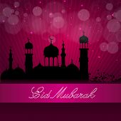 stock photo of kaba  - Eid Mubarak background with silhouette Mosque and Masjid on pink background - JPG