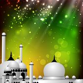 image of kaba  - Colorful EId Mubarak background with Mosque and Masjid image - JPG
